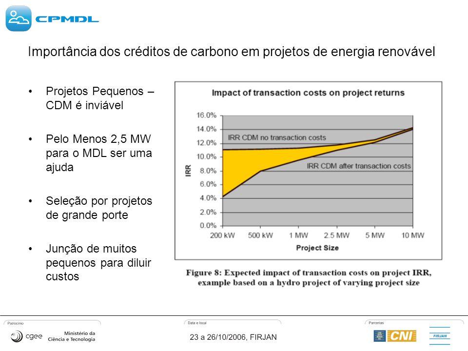 Importância dos créditos de carbono em projetos de energia renovável Projetos Pequenos – CDM é inviável Pelo Menos 2,5 MW para o MDL ser uma ajuda Seleção por projetos de grande porte Junção de muitos pequenos para diluir custos