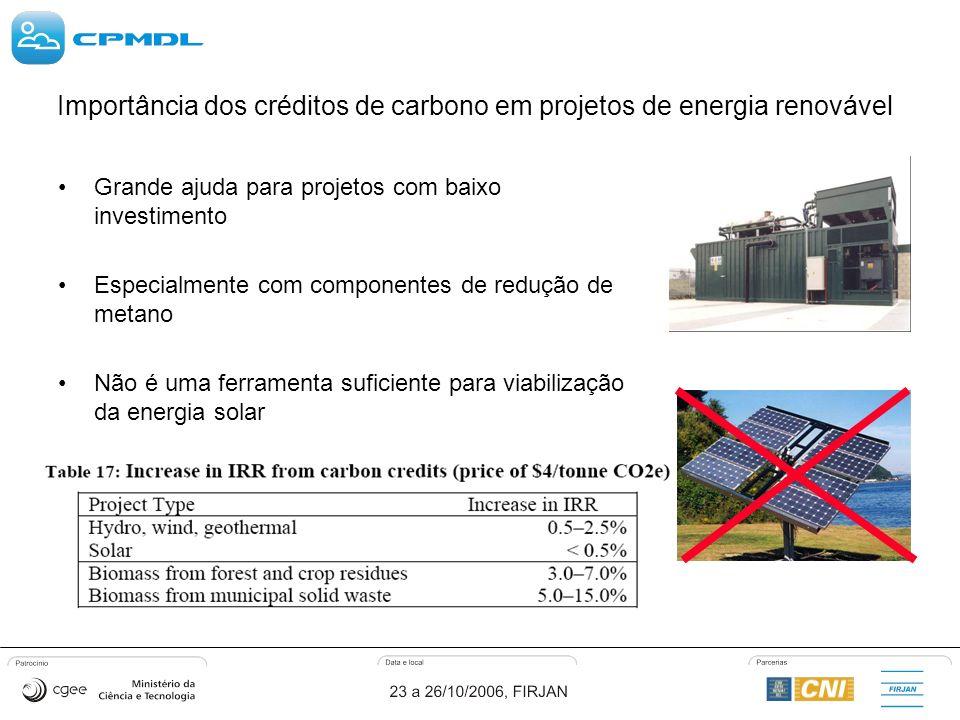 Importância dos créditos de carbono em projetos de energia renovável Grande ajuda para projetos com baixo investimento Especialmente com componentes de redução de metano Não é uma ferramenta suficiente para viabilização da energia solar