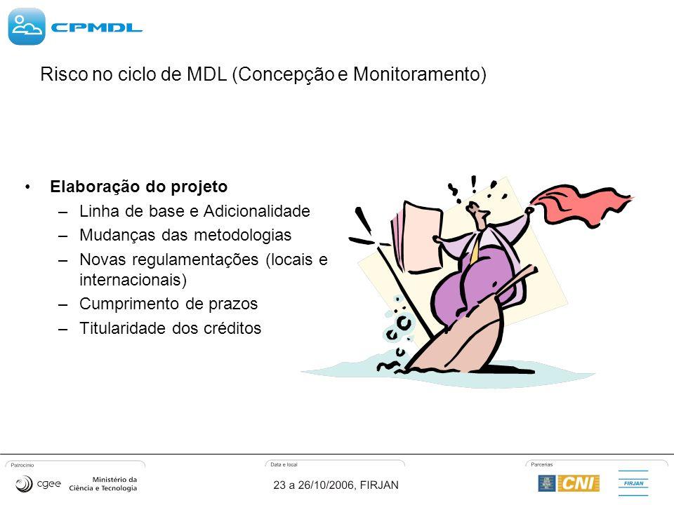 Risco no ciclo de MDL (Concepção e Monitoramento) Elaboração do projeto –Linha de base e Adicionalidade –Mudanças das metodologias –Novas regulamentações (locais e internacionais) –Cumprimento de prazos –Titularidade dos créditos