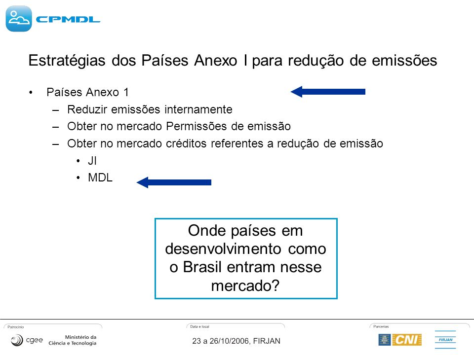 Estratégias dos Países Anexo I para redução de emissões Países Anexo 1 –Reduzir emissões internamente –Obter no mercado Permissões de emissão –Obter no mercado créditos referentes a redução de emissão JI MDL Onde países em desenvolvimento como o Brasil entram nesse mercado?