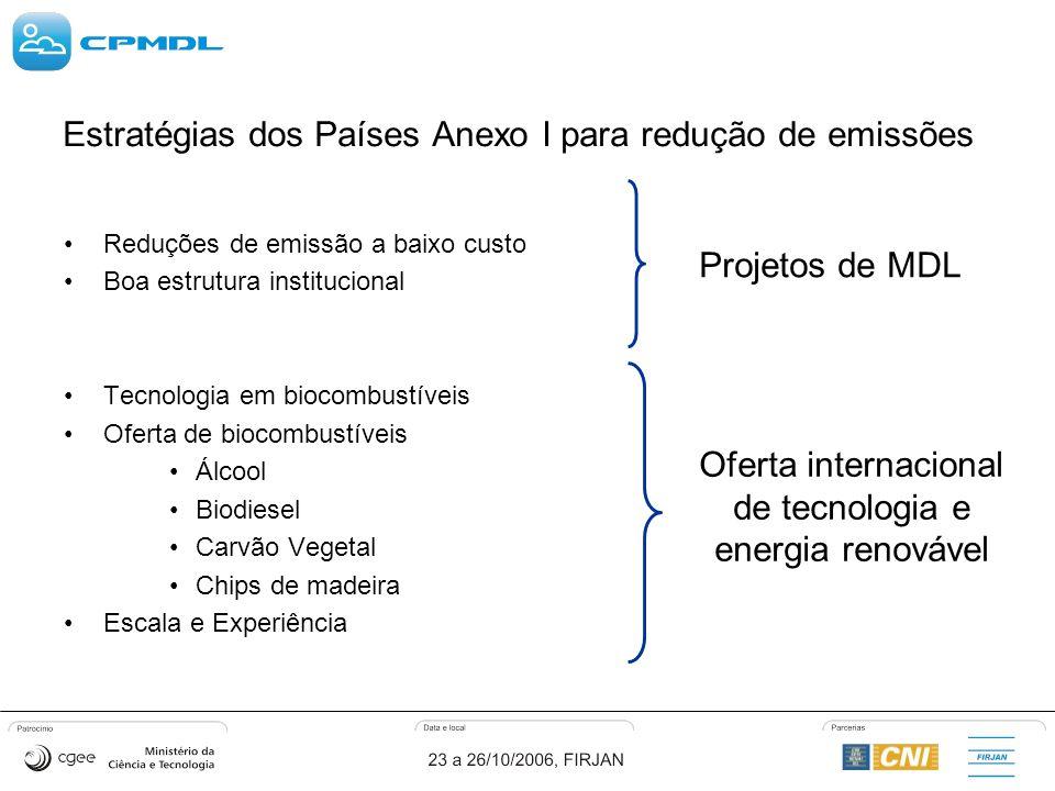 Estratégias dos Países Anexo I para redução de emissões Reduções de emissão a baixo custo Boa estrutura institucional Tecnologia em biocombustíveis Oferta de biocombustíveis Álcool Biodiesel Carvão Vegetal Chips de madeira Escala e Experiência Projetos de MDL Oferta internacional de tecnologia e energia renovável