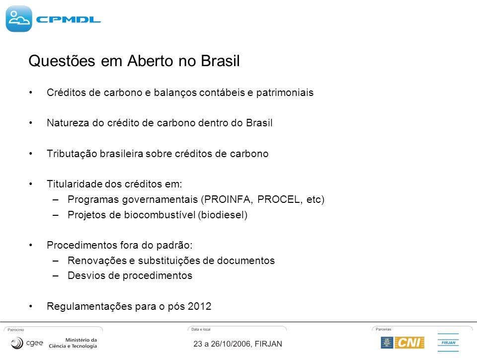 Questões em Aberto no Brasil Créditos de carbono e balanços contábeis e patrimoniais Natureza do crédito de carbono dentro do Brasil Tributação brasileira sobre créditos de carbono Titularidade dos créditos em: –Programas governamentais (PROINFA, PROCEL, etc) –Projetos de biocombustível (biodiesel) Procedimentos fora do padrão: –Renovações e substituições de documentos –Desvios de procedimentos Regulamentações para o pós 2012