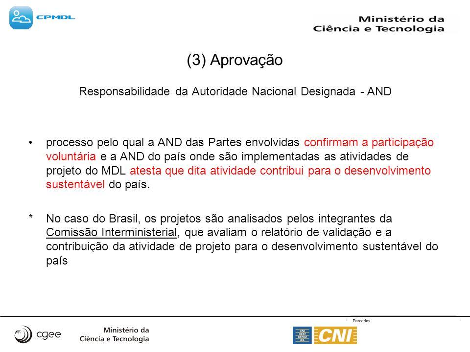 (3) Aprovação Responsabilidade da Autoridade Nacional Designada - AND processo pelo qual a AND das Partes envolvidas confirmam a participação voluntár
