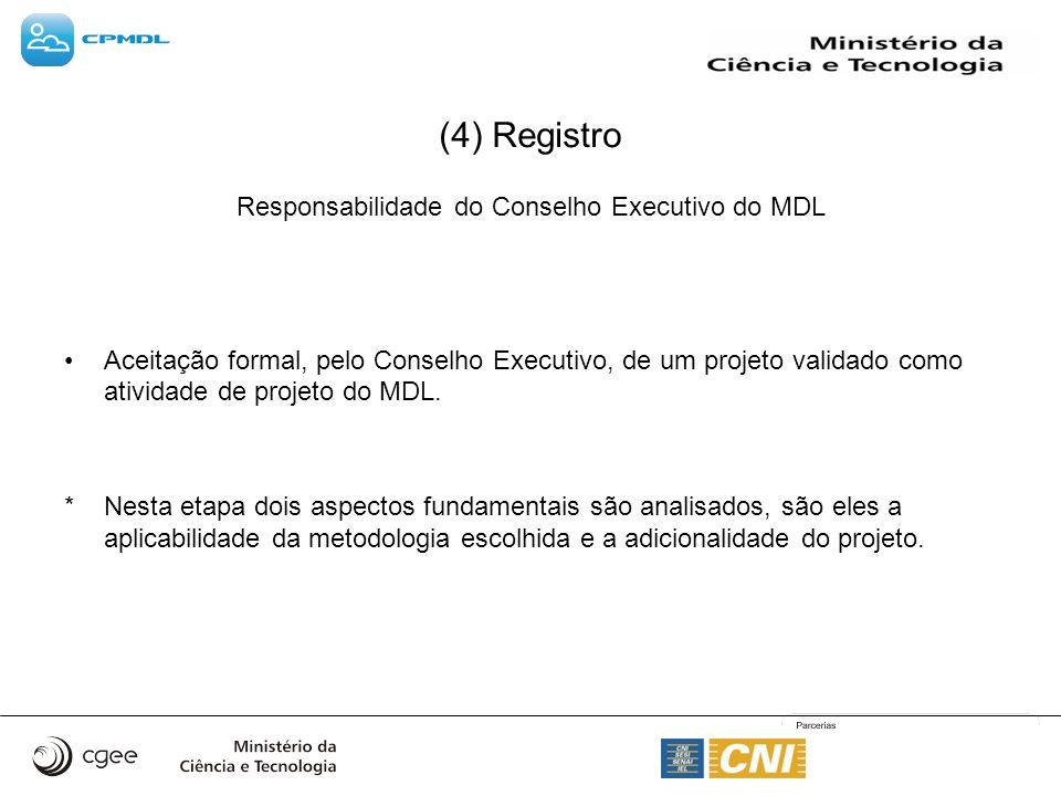 (4) Registro Responsabilidade do Conselho Executivo do MDL Aceitação formal, pelo Conselho Executivo, de um projeto validado como atividade de projeto