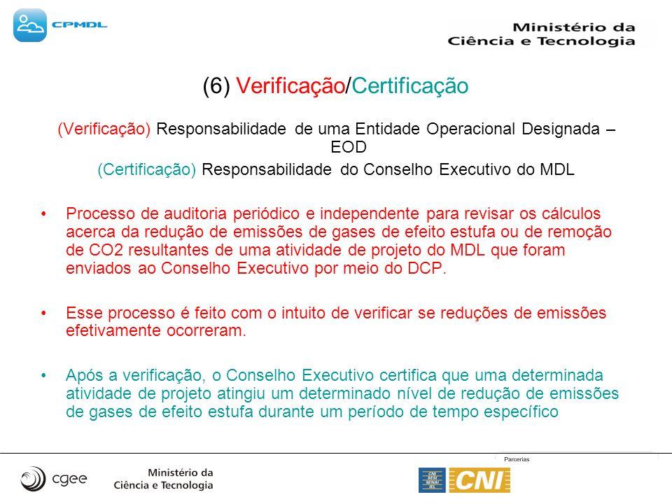 (6) Verificação/Certificação (Verificação) Responsabilidade de uma Entidade Operacional Designada – EOD (Certificação) Responsabilidade do Conselho Executivo do MDL Processo de auditoria periódico e independente para revisar os cálculos acerca da redução de emissões de gases de efeito estufa ou de remoção de CO2 resultantes de uma atividade de projeto do MDL que foram enviados ao Conselho Executivo por meio do DCP.