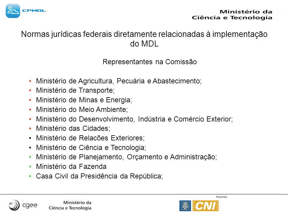 Representantes na Comissão Ministério de Agricultura, Pecuária e Abastecimento; Ministério de Transporte; Ministério de Minas e Energia; Ministério do