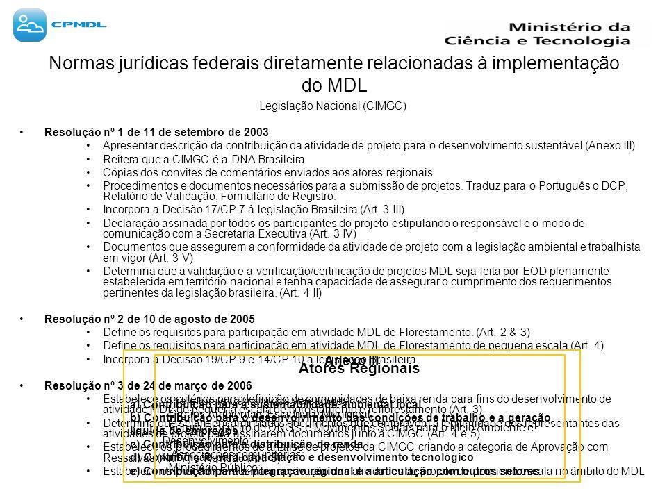 Normas jurídicas federais diretamente relacionadas à implementação do MDL Legislação Nacional (CIMGC) Resolução nº 1 de 11 de setembro de 2003 Apresentar descrição da contribuição da atividade de projeto para o desenvolvimento sustentável (Anexo III) Reitera que a CIMGC é a DNA Brasileira Cópias dos convites de comentários enviados aos atores regionais Procedimentos e documentos necessários para a submissão de projetos.
