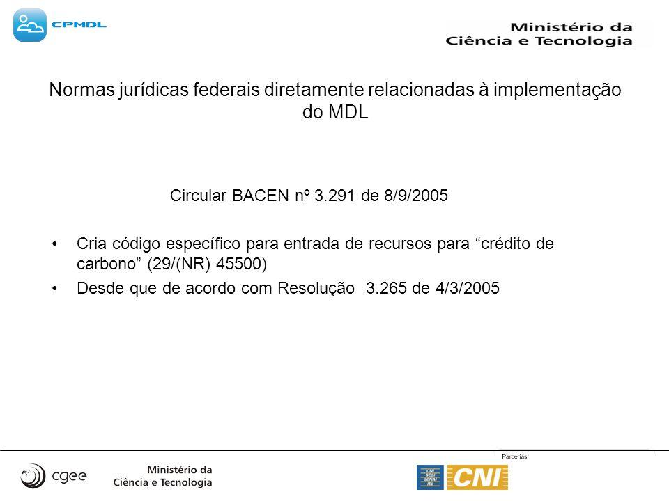 Circular BACEN nº 3.291 de 8/9/2005 Cria código específico para entrada de recursos para crédito de carbono (29/(NR) 45500) Desde que de acordo com Resolução 3.265 de 4/3/2005 Normas jurídicas federais diretamente relacionadas à implementação do MDL