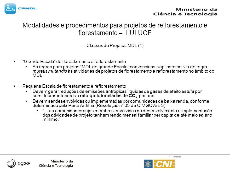 Classes de Projetos MDL (4) Grande Escala de florestamento e reflorestamento As regras para projetos MDL de grande Escala convencionais aplicam-se, via de regra, mutatis mutandis às atividades de projetos de florestamento e reflorestamento no âmbito do MDL.