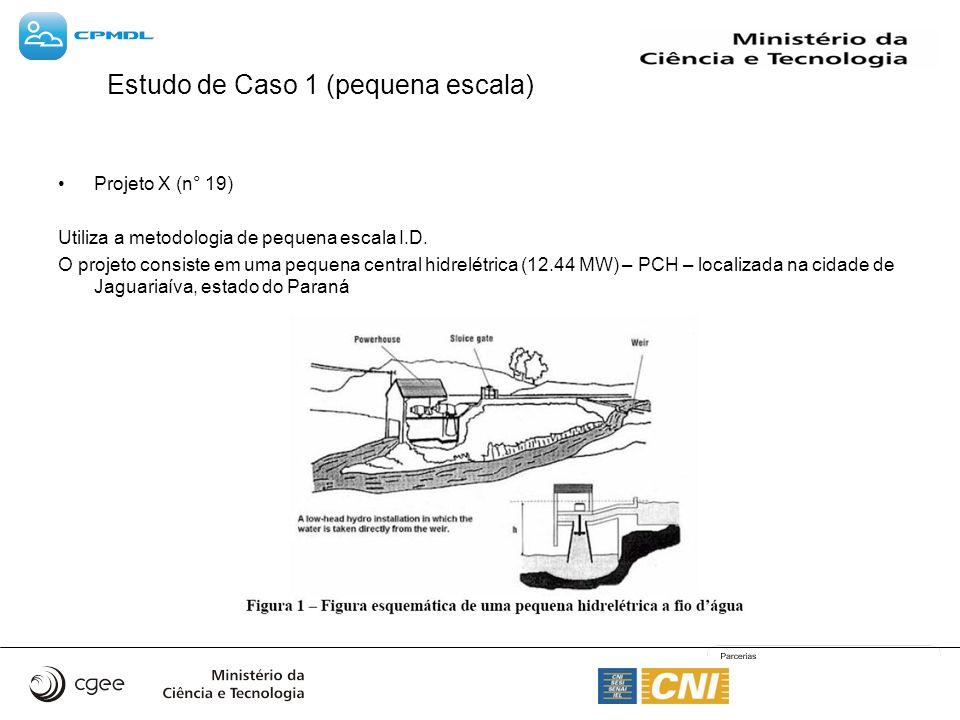 Estudo de Caso 1 (pequena escala) Projeto X (n° 19) Utiliza a metodologia de pequena escala I.D. O projeto consiste em uma pequena central hidrelétric