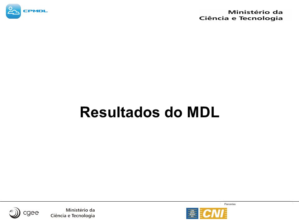 Resultados do MDL