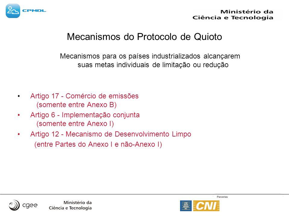 Mecanismos do Protocolo de Quioto Mecanismos para os países industrializados alcançarem suas metas individuais de limitação ou redução Artigo 17 - Com