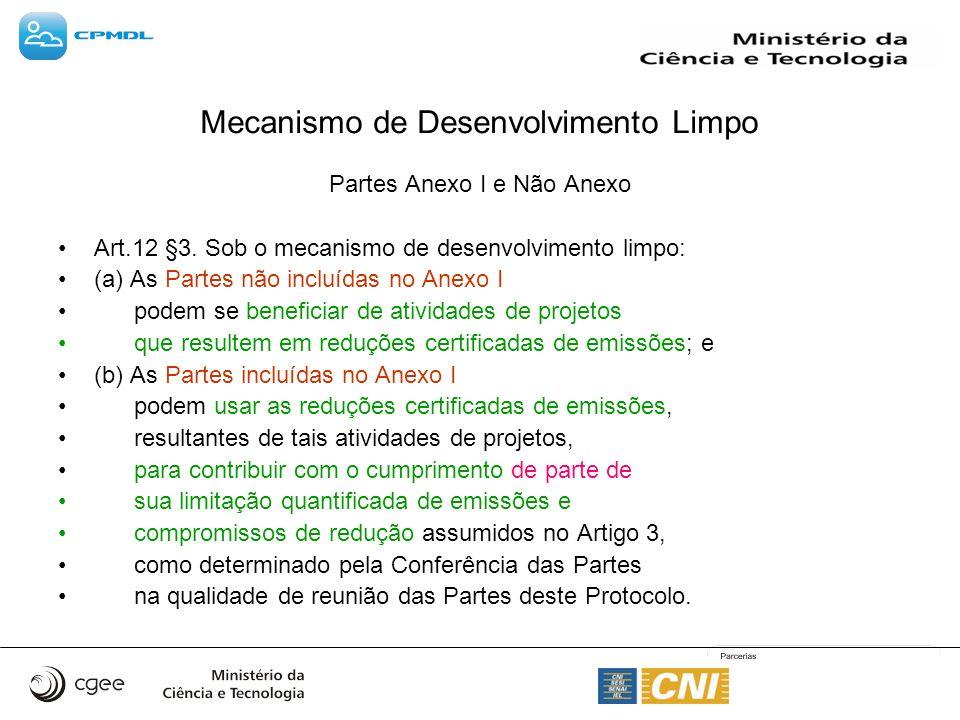 Mecanismo de Desenvolvimento Limpo Partes Anexo I e Não Anexo Art.12 §3. Sob o mecanismo de desenvolvimento limpo: (a) As Partes não incluídas no Anex