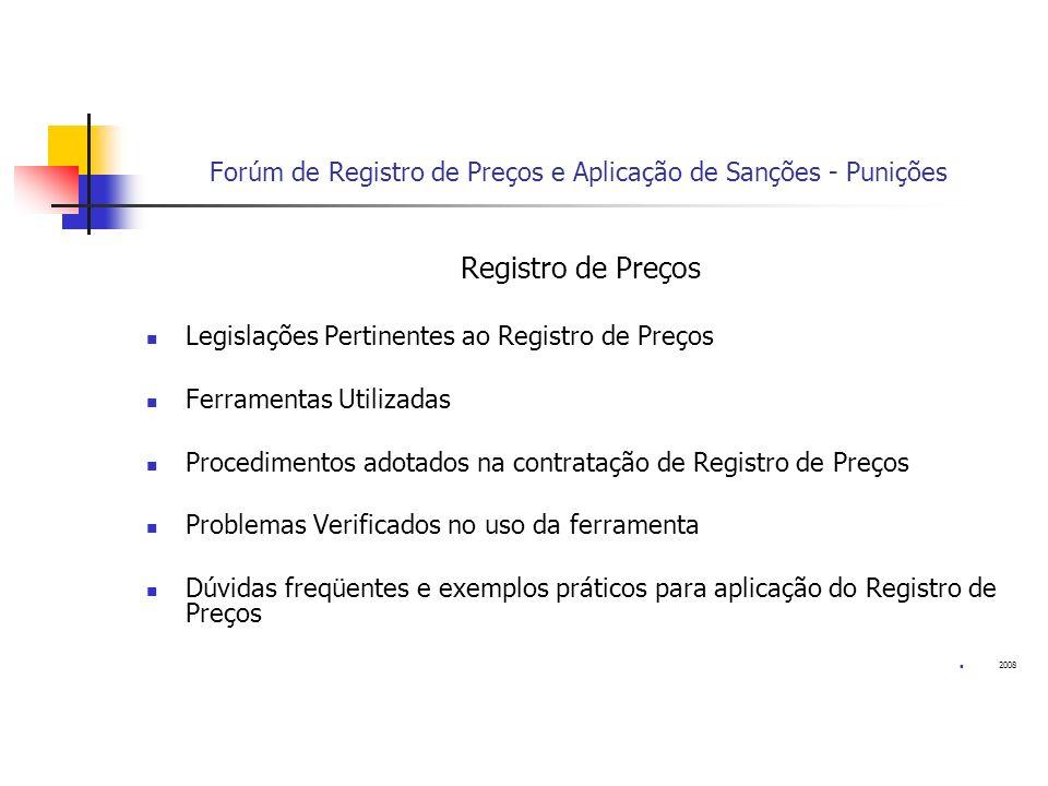 Forúm de Registro de Preços e Aplicação de Sanções - Punições Registro de Preços Legislações Pertinentes ao Registro de Preços Ferramentas Utilizadas
