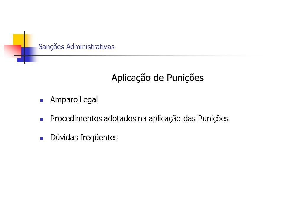 Sanções Administrativas Aplicação de Punições Amparo Legal Procedimentos adotados na aplicação das Punições Dúvidas freqüentes