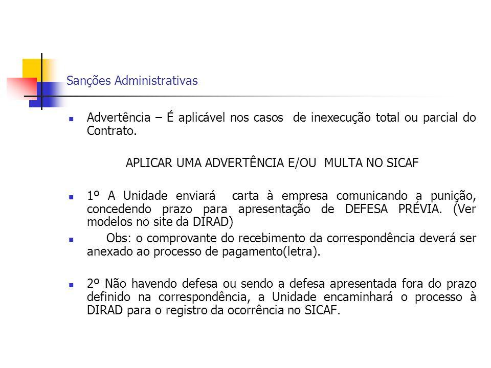 Sanções Administrativas Advertência – É aplicável nos casos de inexecução total ou parcial do Contrato. APLICAR UMA ADVERTÊNCIA E/OU MULTA NO SICAF 1º