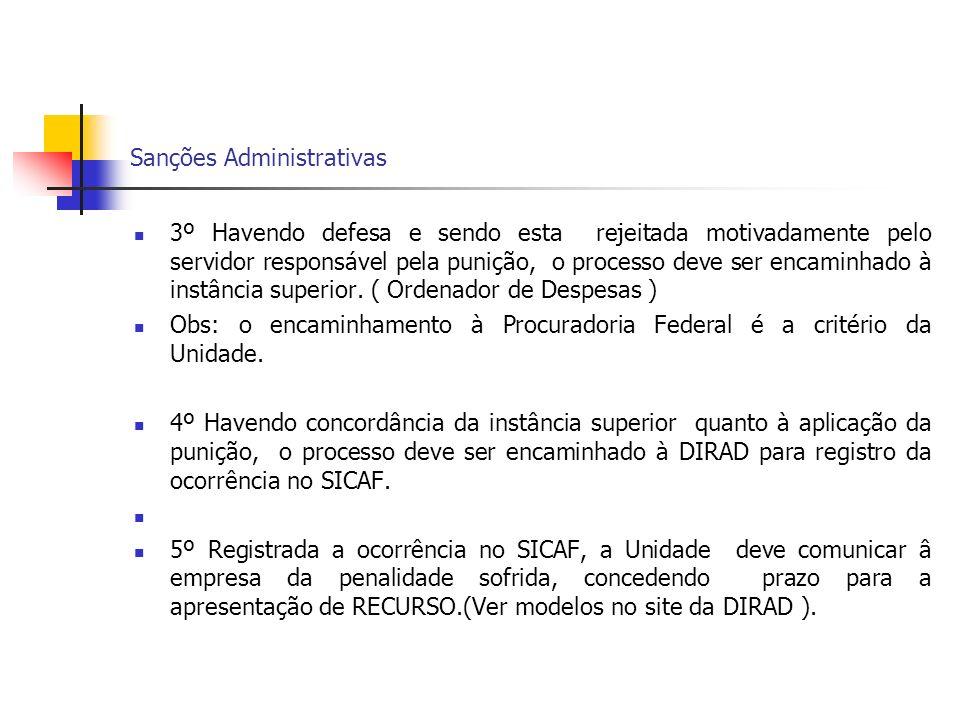 Sanções Administrativas 3º Havendo defesa e sendo esta rejeitada motivadamente pelo servidor responsável pela punição, o processo deve ser encaminhado