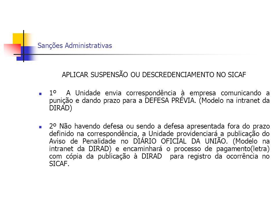 Sanções Administrativas APLICAR SUSPENSÃO OU DESCREDENCIAMENTO NO SICAF 1º A Unidade envia correspondência à empresa comunicando a punição e dando pra