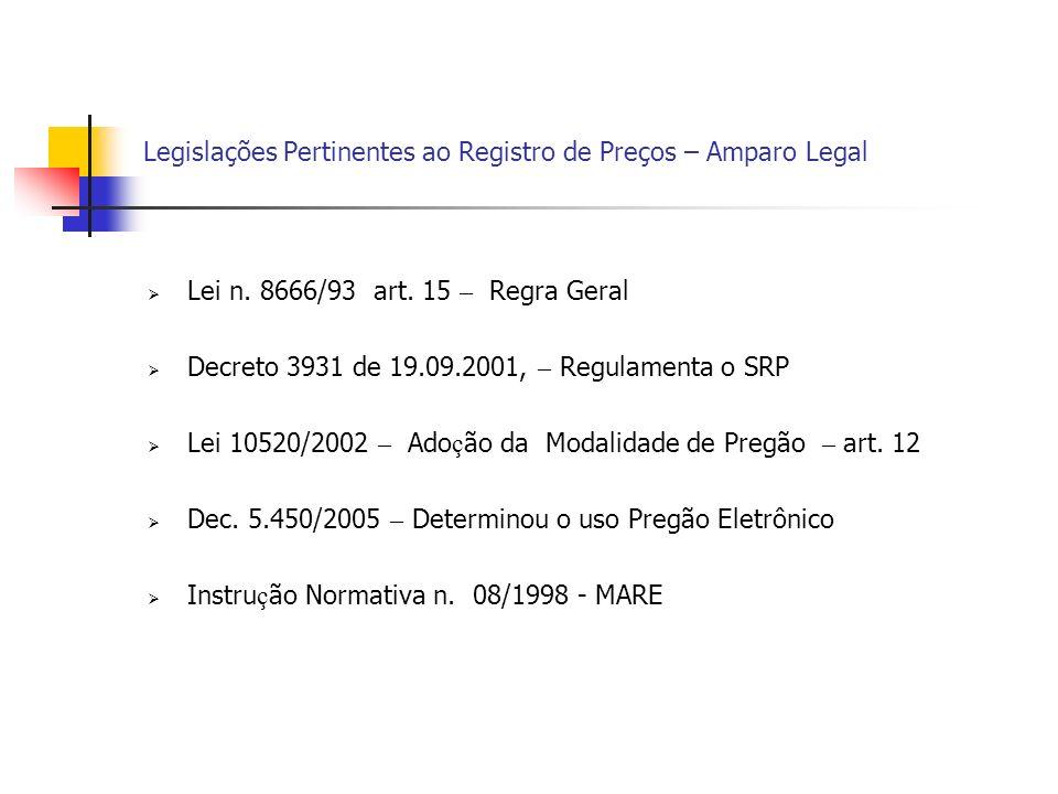 Legislações Pertinentes ao Registro de Preços – Amparo Legal Lei n. 8666/93 art. 15 – Regra Geral Decreto 3931 de 19.09.2001, – Regulamenta o SRP Lei