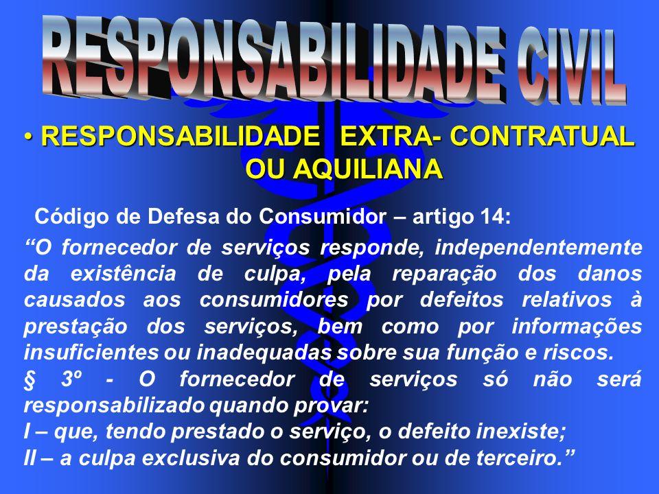 RESPONSABILIDADE EXTRA- CONTRATUAL RESPONSABILIDADE EXTRA- CONTRATUAL OU AQUILIANA OU AQUILIANA Código de Defesa do Consumidor – artigo 14: O forneced