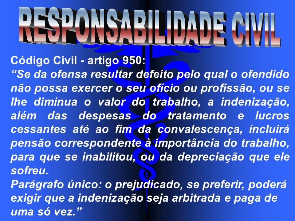 Código Civil - artigo 950: Se da ofensa resultar defeito pelo qual o ofendido não possa exercer o seu ofício ou profissão, ou se lhe diminua o valor d