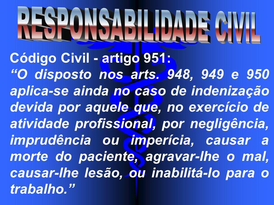 Código Civil - artigo 951: O disposto nos arts. 948, 949 e 950 aplica-se ainda no caso de indenização devida por aquele que, no exercício de atividade