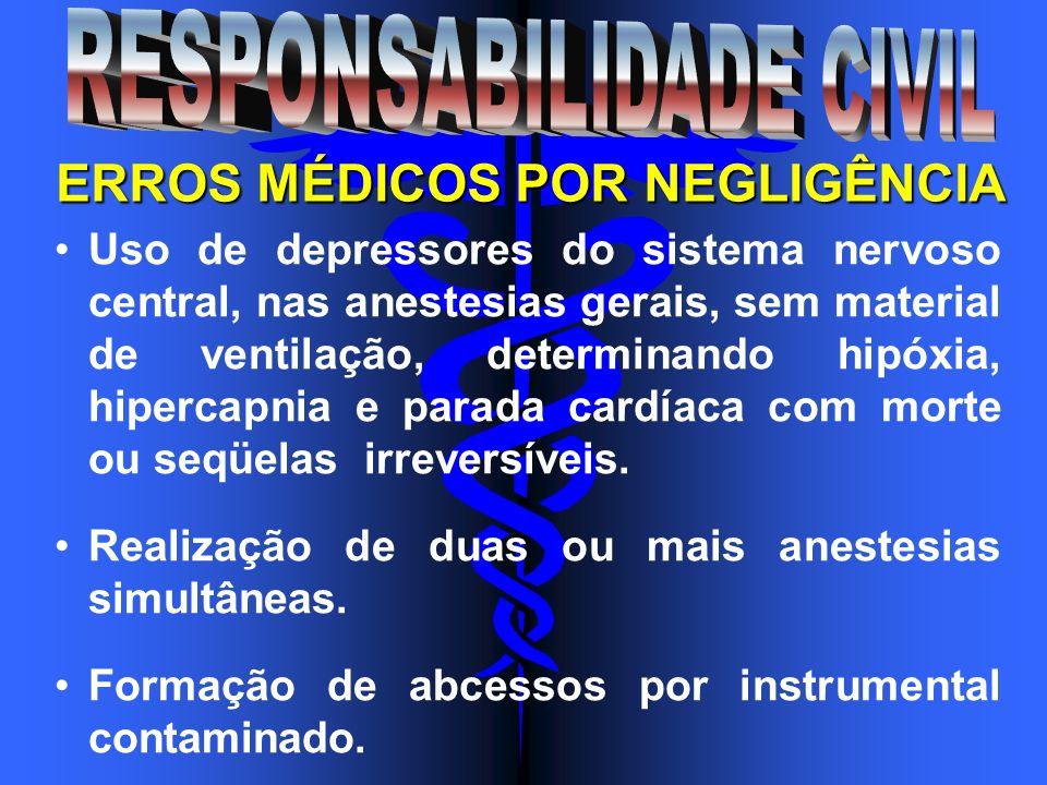 Uso de depressores do sistema nervoso central, nas anestesias gerais, sem material de ventilação, determinando hipóxia, hipercapnia e parada cardíaca