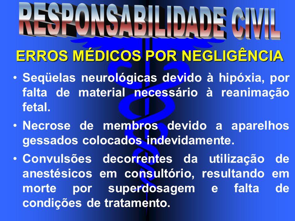Seqüelas neurológicas devido à hipóxia, por falta de material necessário à reanimação fetal. Necrose de membros devido a aparelhos gessados colocados