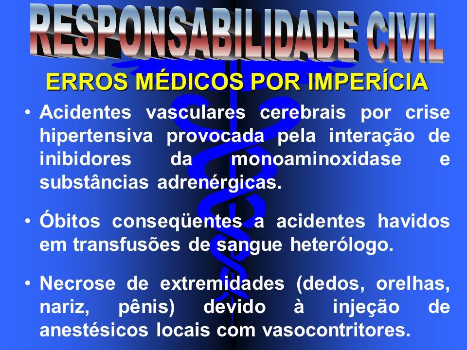 ERROS MÉDICOS POR IMPERÍCIA Acidentes vasculares cerebrais por crise hipertensiva provocada pela interação de inibidores da monoaminoxidase e substânc