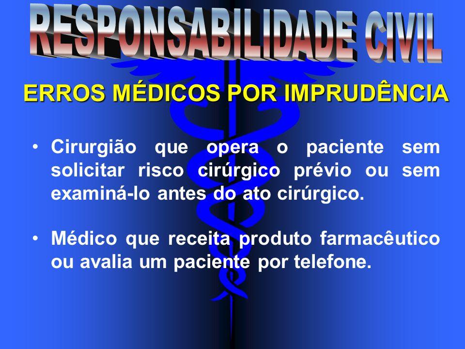 ERROS MÉDICOS POR IMPRUDÊNCIA Cirurgião que opera o paciente sem solicitar risco cirúrgico prévio ou sem examiná-lo antes do ato cirúrgico. Médico que