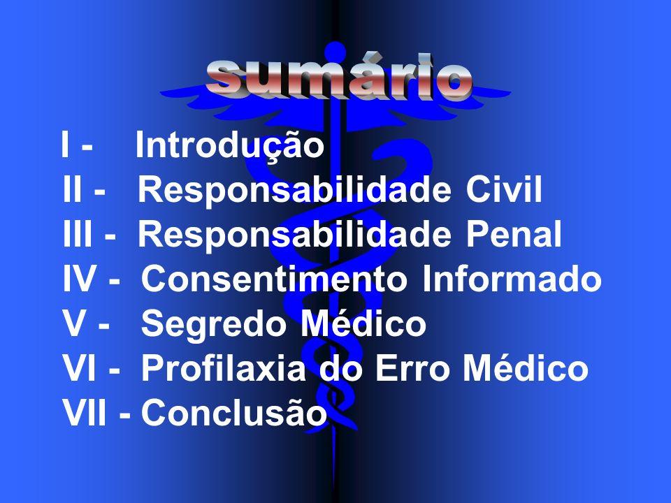 I - Introdução II - Responsabilidade Civil III - Responsabilidade Penal IV - Consentimento Informado V - Segredo Médico VI - Profilaxia do Erro Médico