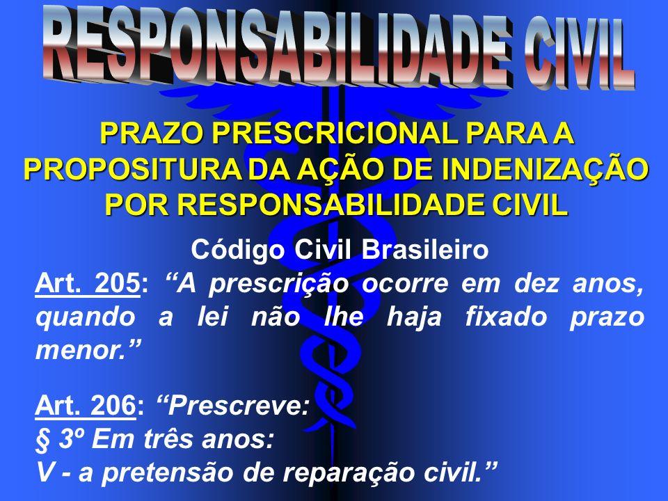 PRAZO PRESCRICIONAL PARA A PROPOSITURA DA AÇÃO DE INDENIZAÇÃO POR RESPONSABILIDADE CIVIL Código Civil Brasileiro Art. 205: A prescrição ocorre em dez