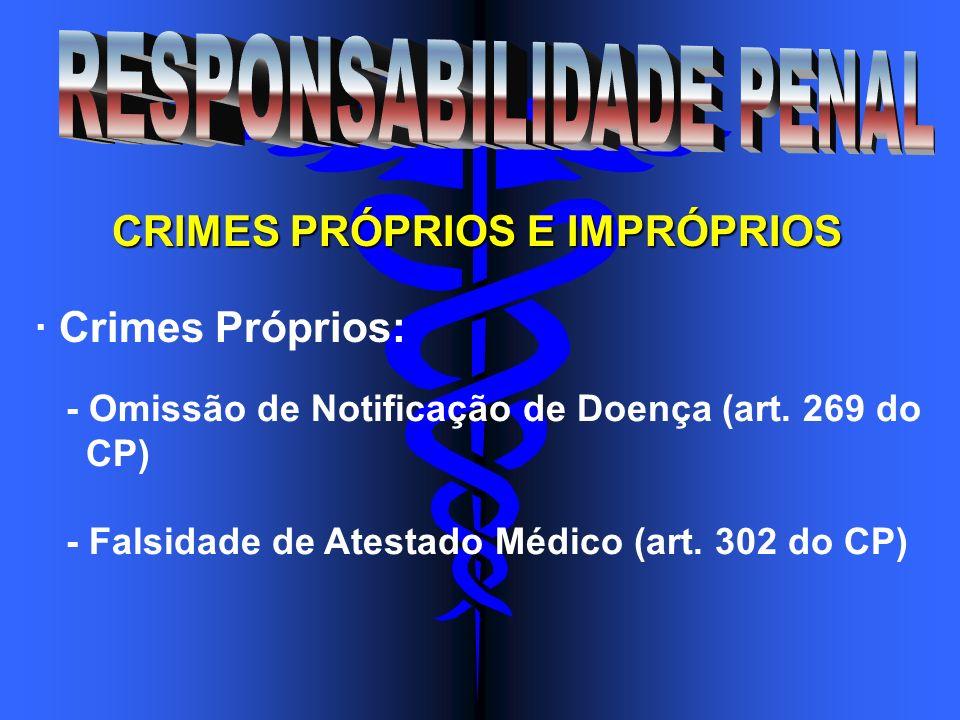 CRIMES PRÓPRIOS E IMPRÓPRIOS · Crimes Próprios: - Omissão de Notificação de Doença (art. 269 do CP) - Falsidade de Atestado Médico (art. 302 do CP)