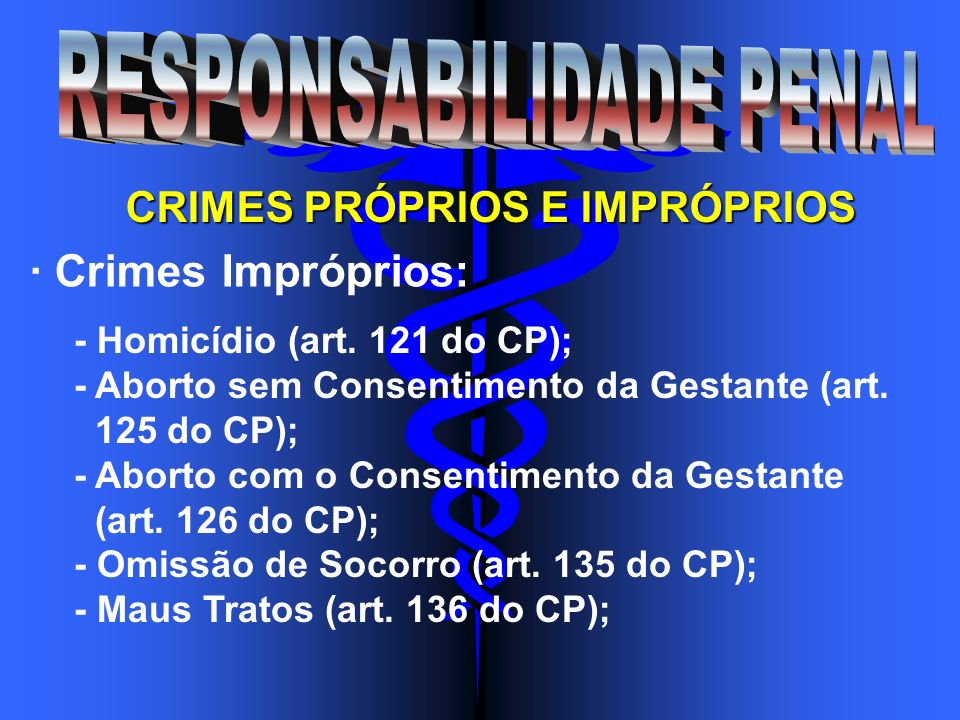 CRIMES PRÓPRIOS E IMPRÓPRIOS · Crimes Impróprios: - Homicídio (art. 121 do CP); - Aborto sem Consentimento da Gestante (art. 125 do CP); - Aborto com