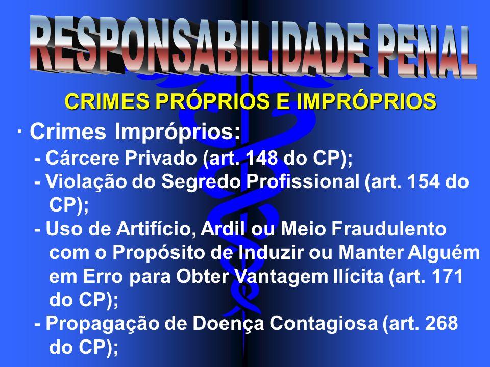 CRIMES PRÓPRIOS E IMPRÓPRIOS · Crimes Impróprios: - Cárcere Privado (art. 148 do CP); - Violação do Segredo Profissional (art. 154 do CP); - Uso de Ar