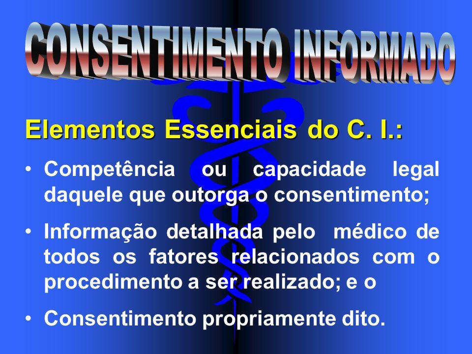 Elementos Essenciais do C. I.: Competência ou capacidade legal daquele que outorga o consentimento; Informação detalhada pelo médico de todos os fator