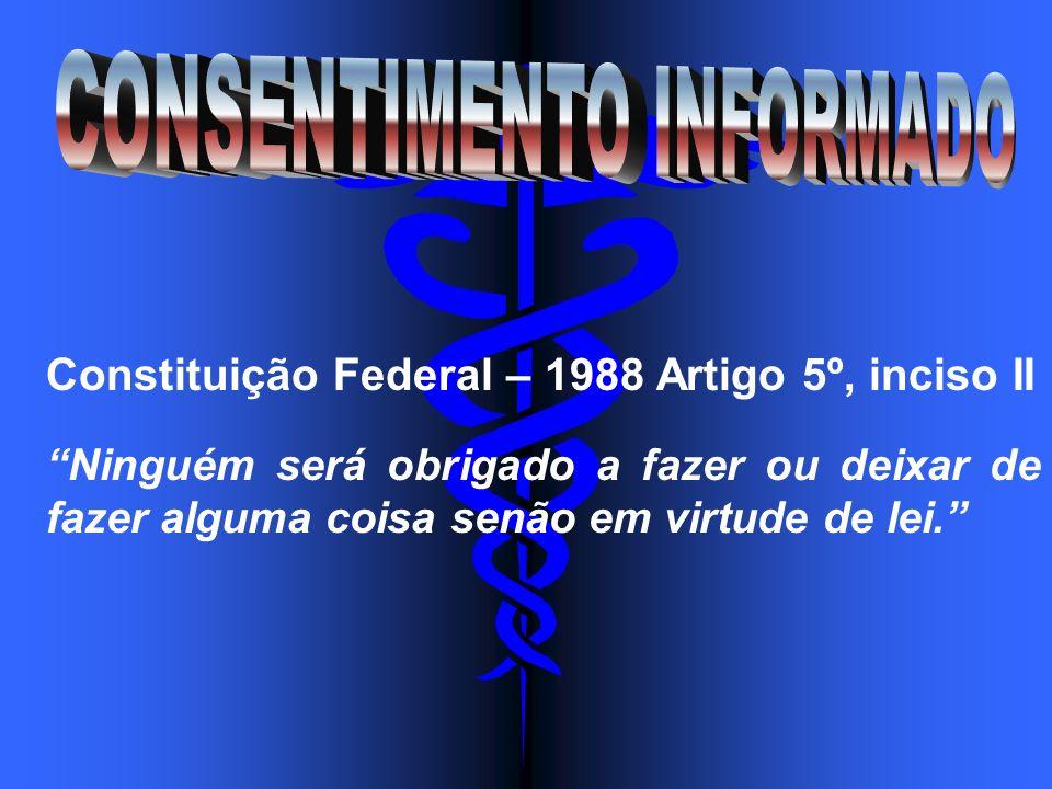 Constituição Federal – 1988 Artigo 5º, inciso II Ninguém será obrigado a fazer ou deixar de fazer alguma coisa senão em virtude de lei.