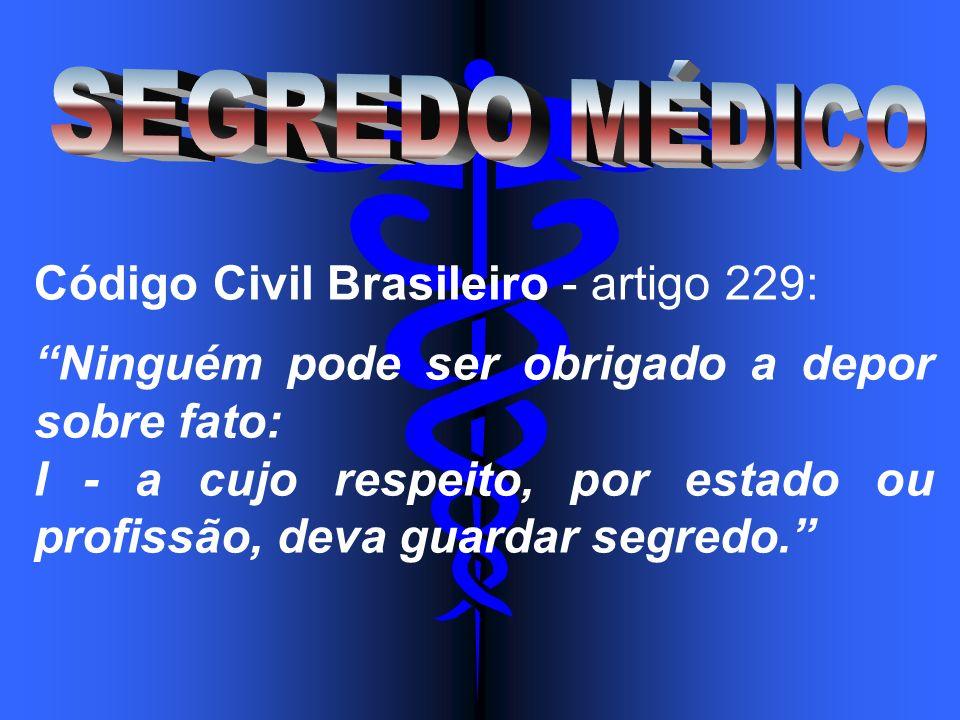 Código Civil Brasileiro - artigo 229: Ninguém pode ser obrigado a depor sobre fato: I - a cujo respeito, por estado ou profissão, deva guardar segredo