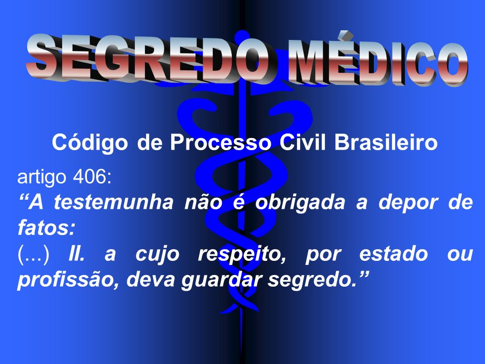 Código de Processo Civil Brasileiro artigo 406: A testemunha não é obrigada a depor de fatos: (...) II. a cujo respeito, por estado ou profissão, deva