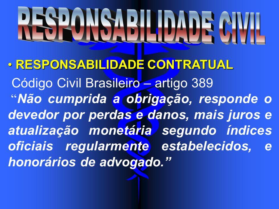 RESPONSABILIDADE CONTRATUAL RESPONSABILIDADE CONTRATUAL Código Civil Brasileiro – artigo 389 Não cumprida a obrigação, responde o devedor por perdas e