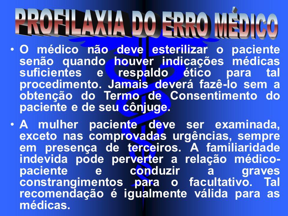O médico não deve esterilizar o paciente senão quando houver indicações médicas suficientes e respaldo ético para tal procedimento. Jamais deverá fazê