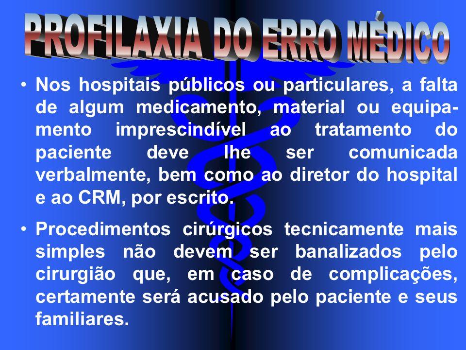 Nos hospitais públicos ou particulares, a falta de algum medicamento, material ou equipa- mento imprescindível ao tratamento do paciente deve lhe ser