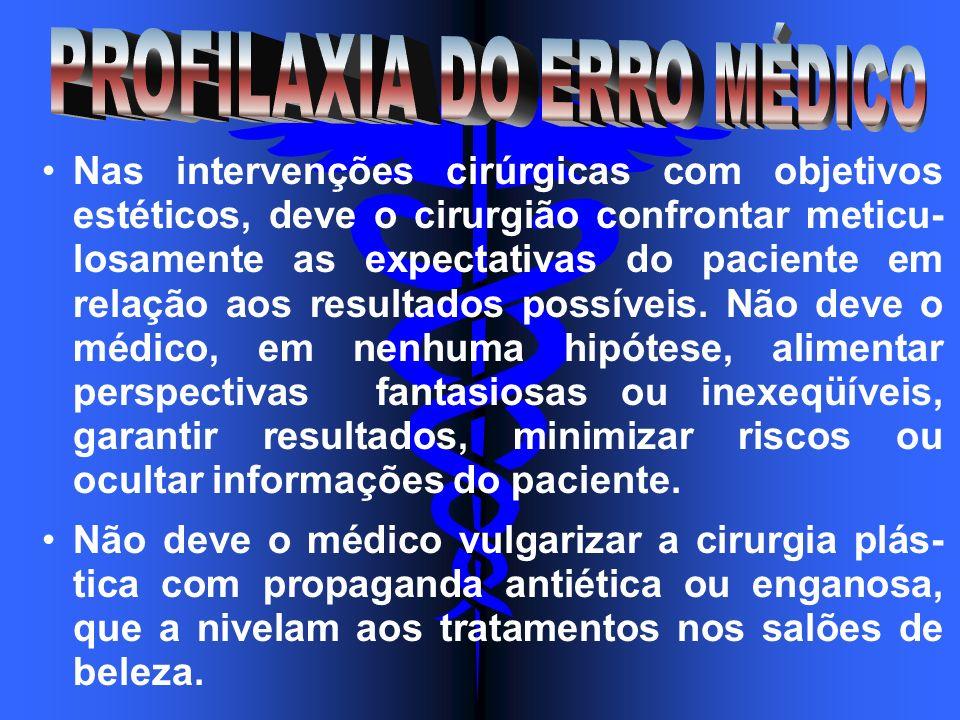 Nas intervenções cirúrgicas com objetivos estéticos, deve o cirurgião confrontar meticu- losamente as expectativas do paciente em relação aos resultad