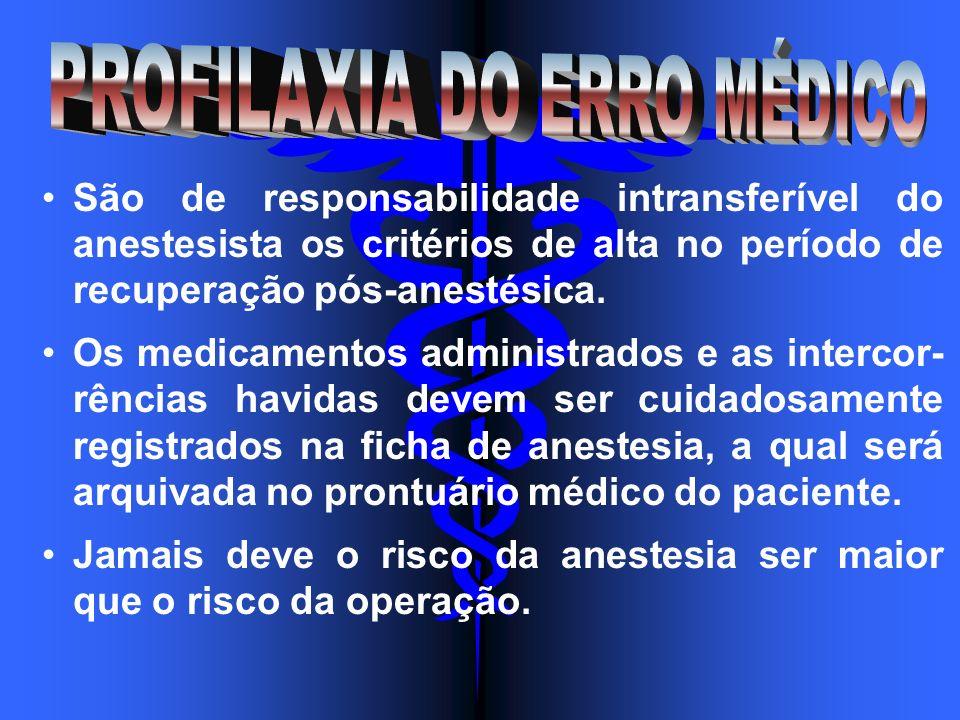 São de responsabilidade intransferível do anestesista os critérios de alta no período de recuperação pós-anestésica. Os medicamentos administrados e a