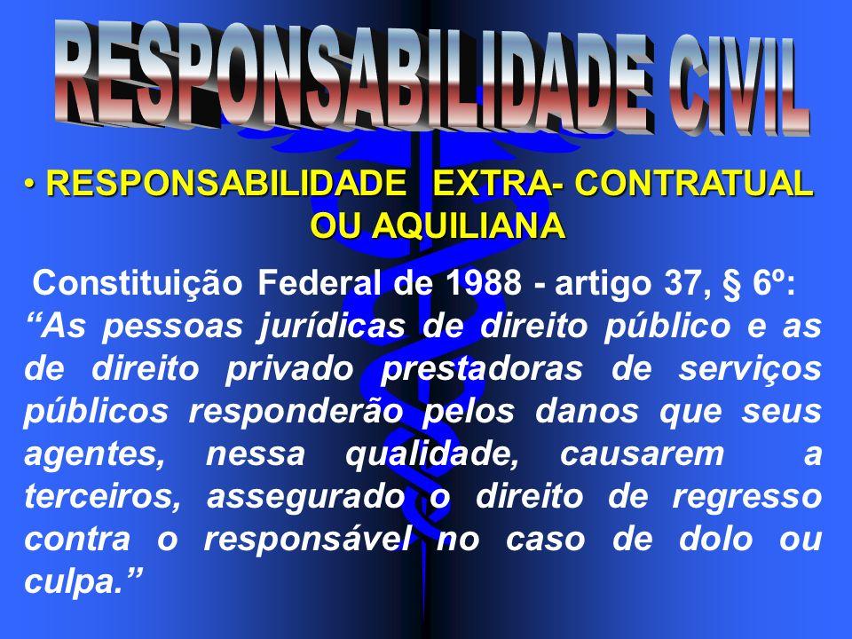 RESPONSABILIDADE EXTRA- CONTRATUAL RESPONSABILIDADE EXTRA- CONTRATUAL OU AQUILIANA OU AQUILIANA Constituição Federal de 1988 - artigo 37, § 6º: As pes