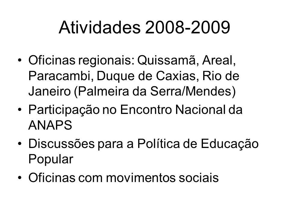 Atividades 2008-2009 Oficinas regionais: Quissamã, Areal, Paracambi, Duque de Caxias, Rio de Janeiro (Palmeira da Serra/Mendes) Participação no Encont