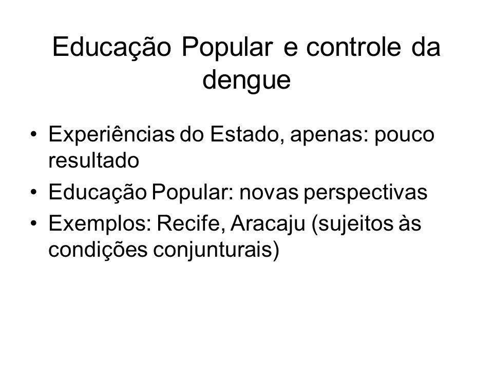 Educação Popular e controle da dengue Experiências do Estado, apenas: pouco resultado Educação Popular: novas perspectivas Exemplos: Recife, Aracaju (