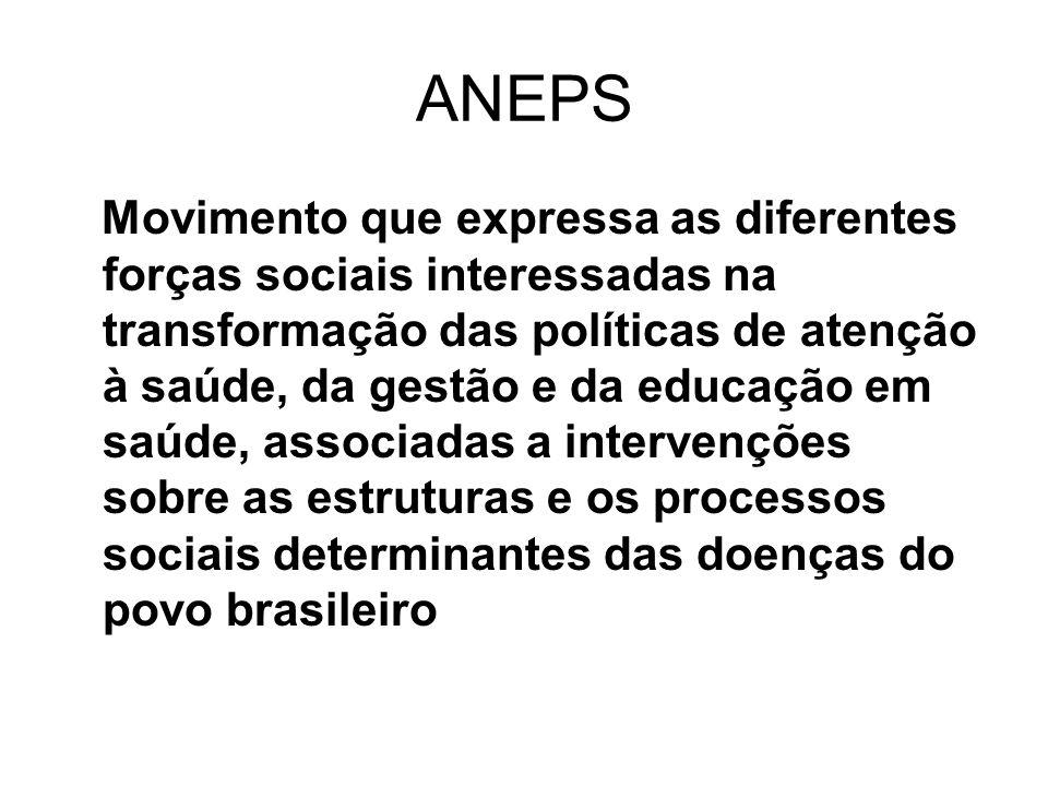 ANEPS Movimento que expressa as diferentes forças sociais interessadas na transformação das políticas de atenção à saúde, da gestão e da educação em s