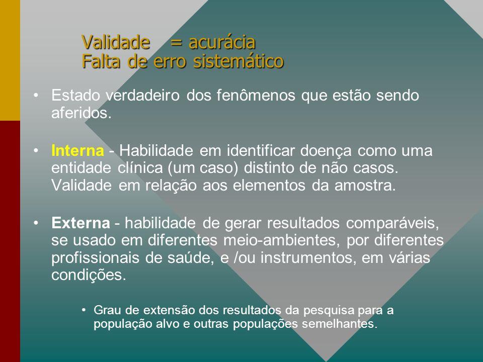 Validade = acurácia Falta de erro sistemático Estado verdadeiro dos fenômenos que estão sendo aferidos.