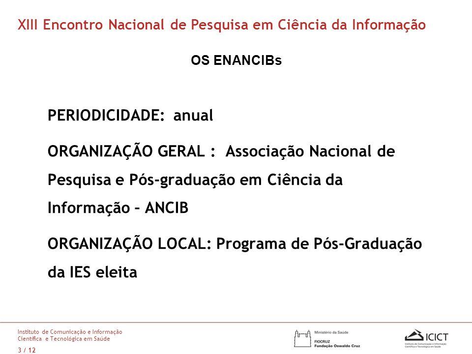 OS ENANCIBs PERIODICIDADE: anual ORGANIZAÇÃO GERAL : Associação Nacional de Pesquisa e Pós-graduação em Ciência da Informação – ANCIB ORGANIZAÇÃO LOCA